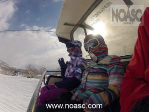 Riding the Niseko Annupuri Quad lift